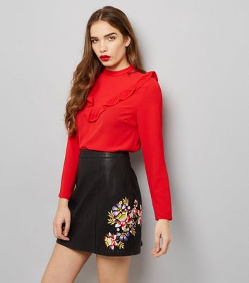 Black Floral Embroidered Leather-Look Skirt