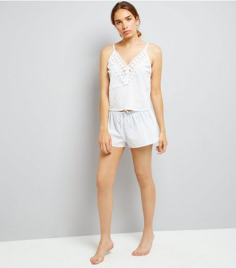 White Lace Trim Cami And Shorts Pyjama Set | New Look