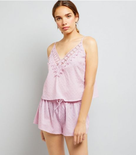 Pink Lace Trim Cami And Shorts Pyjama Set | New Look