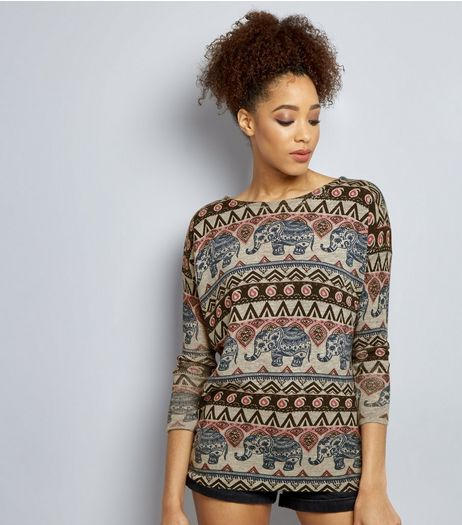 Mela Pale Grey Aztec Print Jumper   | New Look