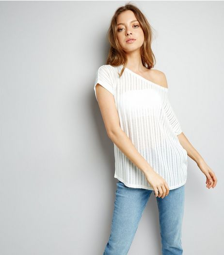 White Ladder Off the Shoulder T-Shirt  | New Look