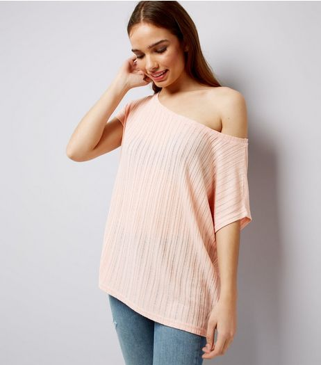 Light Pink Ladder Knit Off The Shoulder Top | New Look