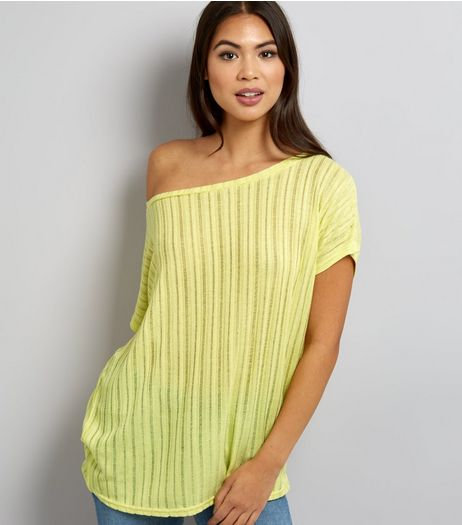 Yellow Ladder Knit Off The Shoulder Top | New Look