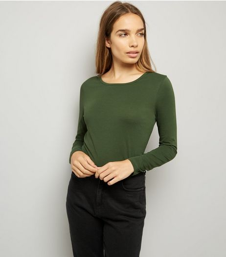 Khaki Crew Neck Long Sleeve Top | New Look