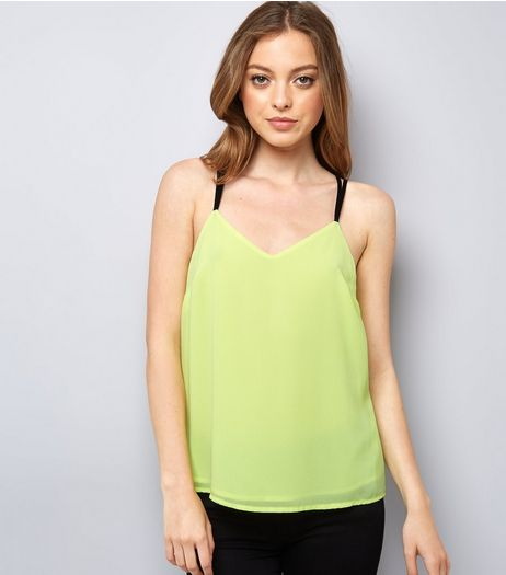 Neon Green Lace Back Cami Top | New Look