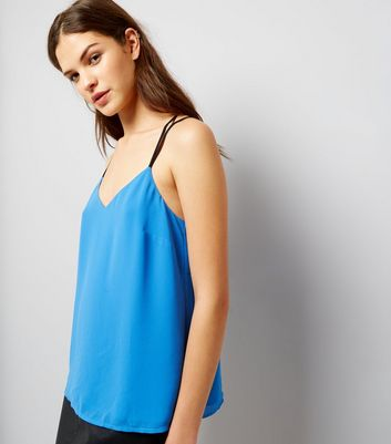 Blue Lace Back Cami Top