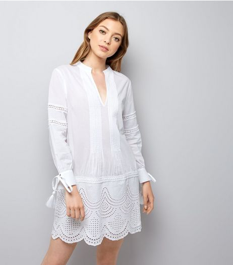 White Cut Out Tunic Dress  | New Look