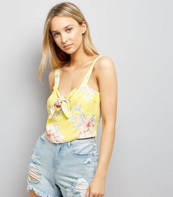 Yellow Tropical Print Tie Front Top