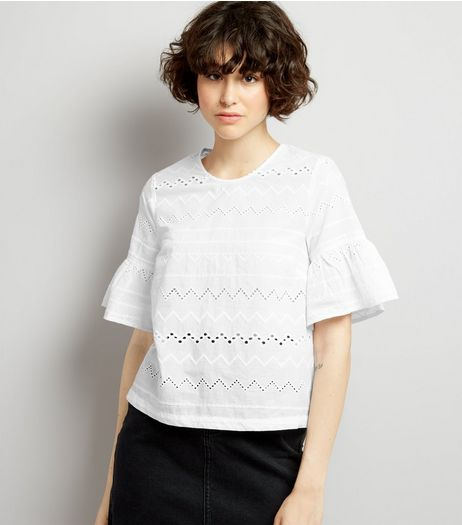 White Cut Out Detail Frill Sleeve Top | New Look