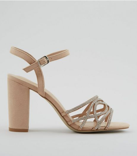 Cream Suedette Crystal Embellished Block Heels | New Look