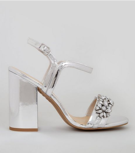 Silver Embellished Block Heel Sandals  | New Look