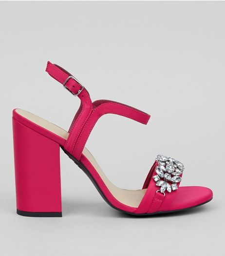 Pink Satin Crystal Strap Heeled Sandals | New Look