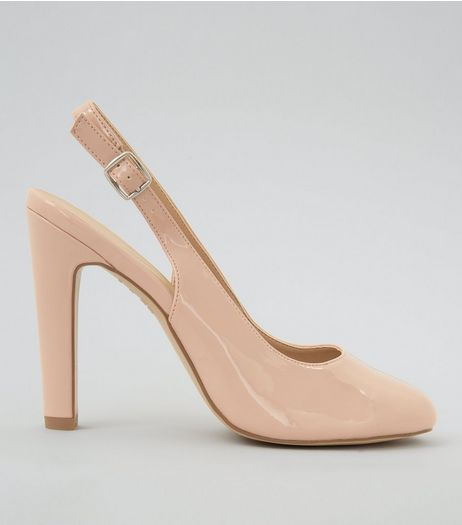 Pink Patent Sling Back Heels | New Look
