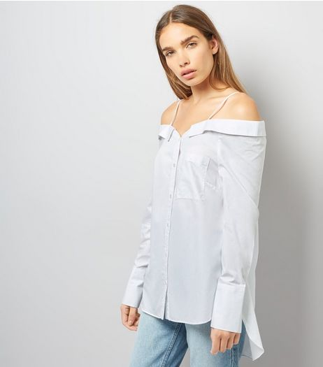 White Bardot Neck Dip Hem Shirt | New Look