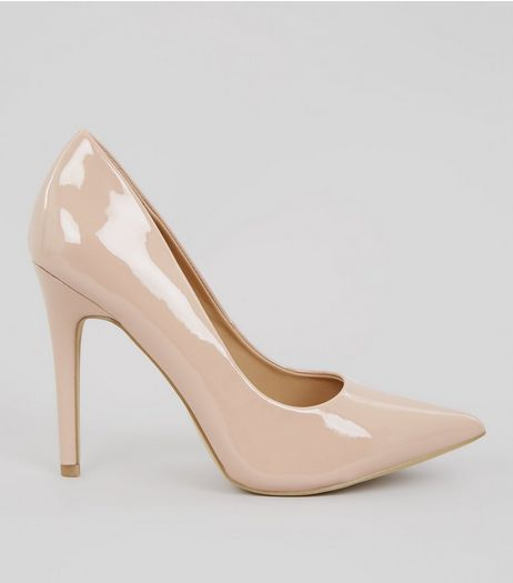 Nude Patent Pointed Court Heels | New Look