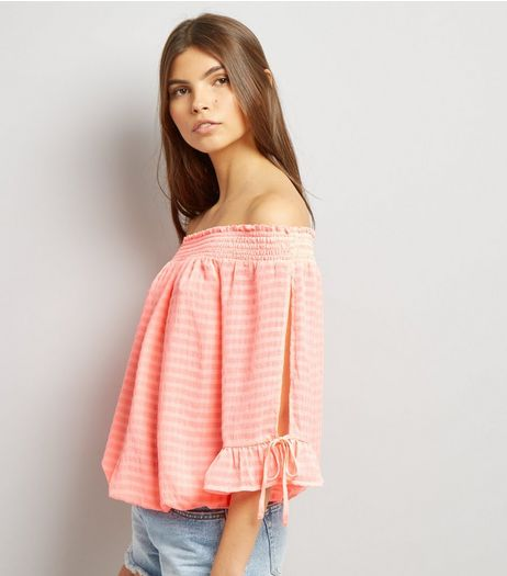 Orange Tie Sleeve Bardot Neck Top  | New Look
