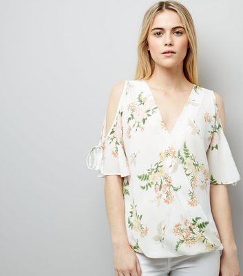 White Floral Print Cold Shoulder Top