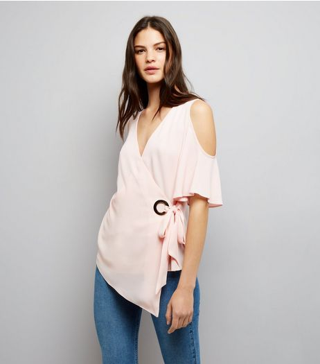 Pink Cold Shoulder Wrap Front Top | New Look