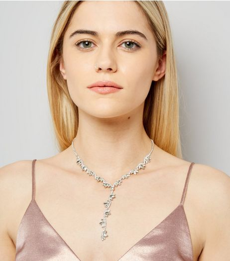 Silver Gem Stone Drop Necklace | New Look