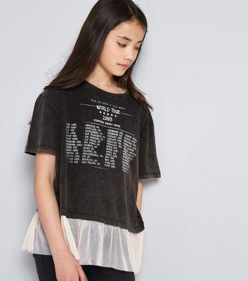 Teens Dark Grey Acid Wash Mesh Hem Tour T-Shirt