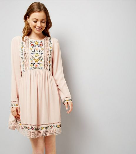 Shell Pink Embroidered Crochet Trim Smock Dress | New Look