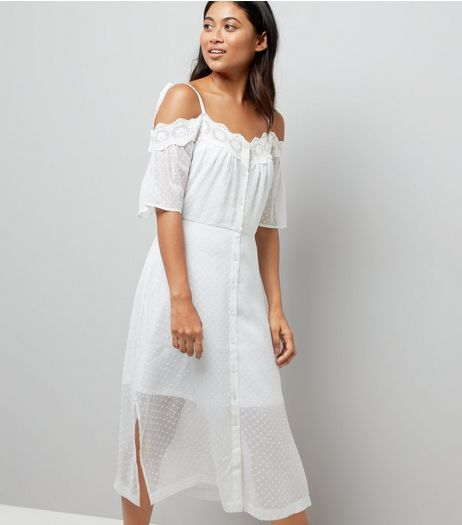 Petite White Cold Shoulder Crochet Dress  | New Look