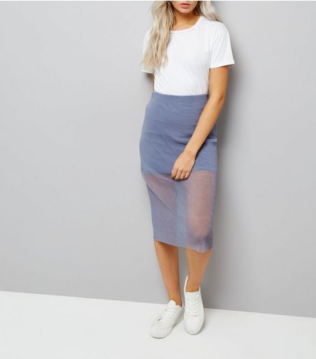 Petite Lilac Sheer Pleated Layered Midi Skirt | New Look