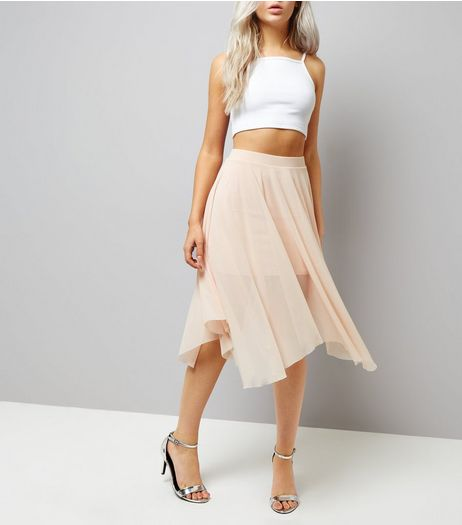 Petite Shell Pink Mesh Hanky Hem Midi Skirt | New Look