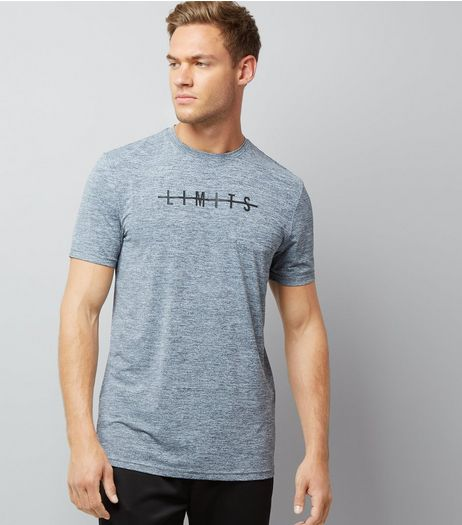 Grey Marl Limits Slogan Sports T-Shirt | New Look