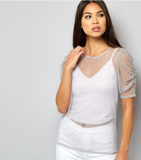 Petite Grey Spot Print Ruched Sleeve Top | New Look