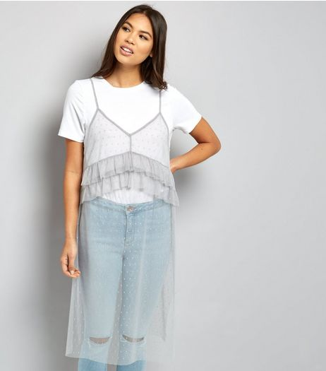 Pale Grey Mesh Longline Cami Top  | New Look