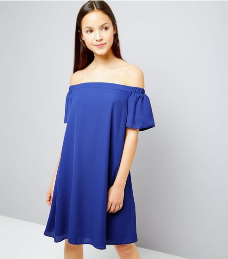 Teens Blue Chiffon Bardot Neck Dress | New Look