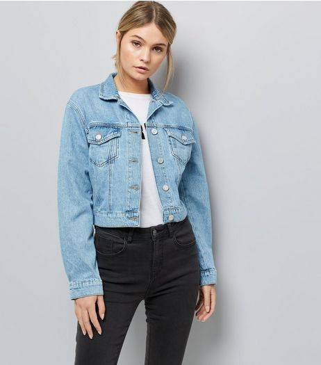 Blue Cropped Denim Jacket | New Look