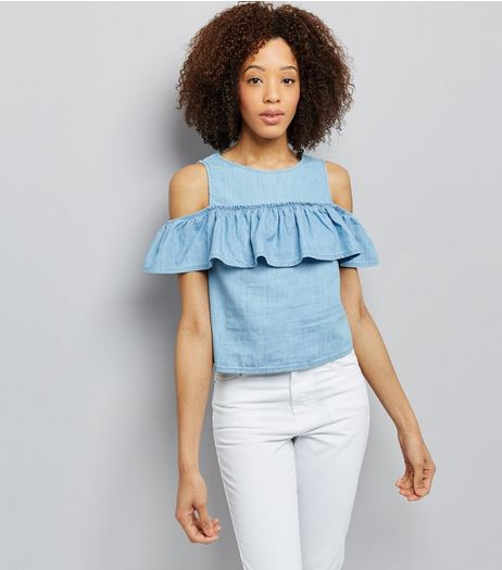 Blue Denim Frill Trim Cold Shoulder Top | New Look