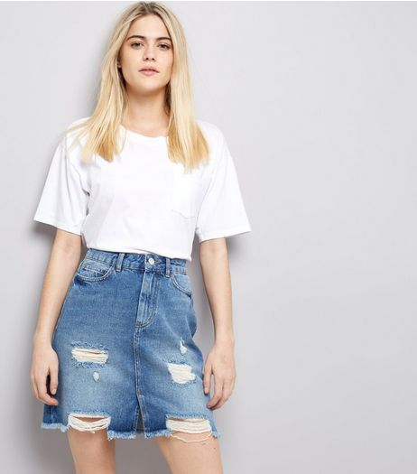 Blue High Waist Ripped Denim Skirt | New Look