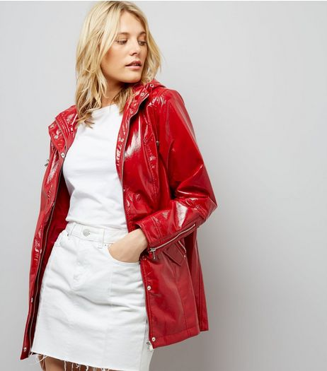 Red Patent Anorak | New Look