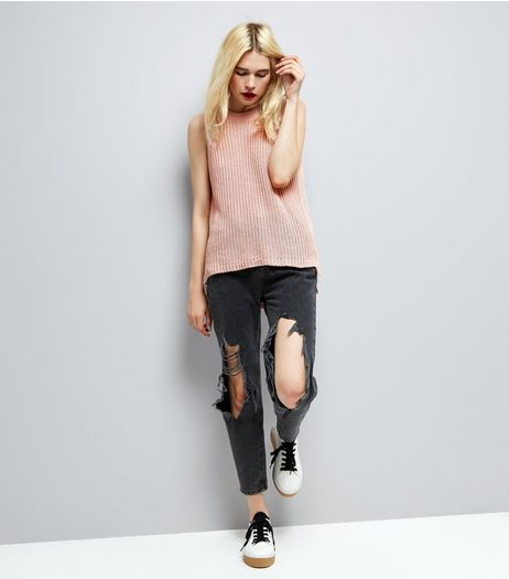Pink Ripped Back Knitted Tank Top | New Look