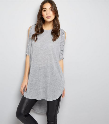Blue Vanilla Grey Gem Studded Zip Cold Shoulder Top | New Look