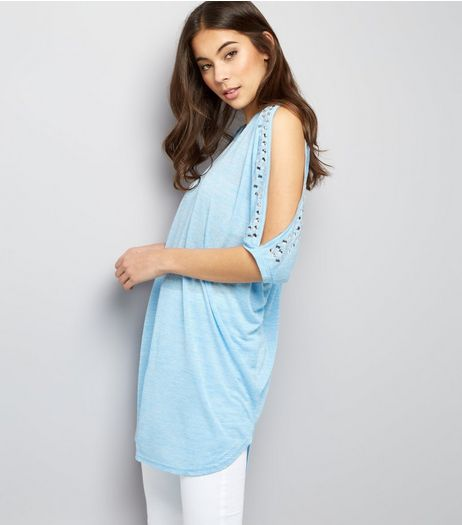 Blue Vanilla Blue Stud Trim Cold Shoulder Top  | New Look
