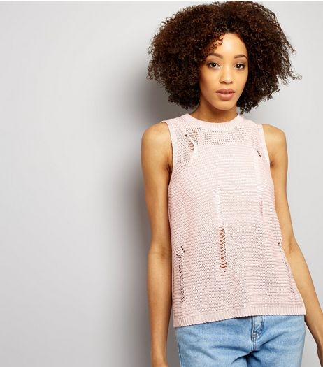 Shell Pink Ribbed Laddered Vest | New Look