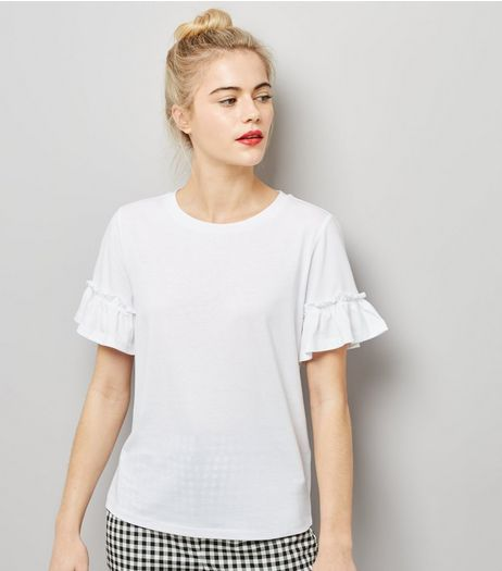 White Frill Trim T-Shirt | New Look