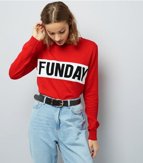 Red Funday Print Long Sleeve Jumper  | New Look