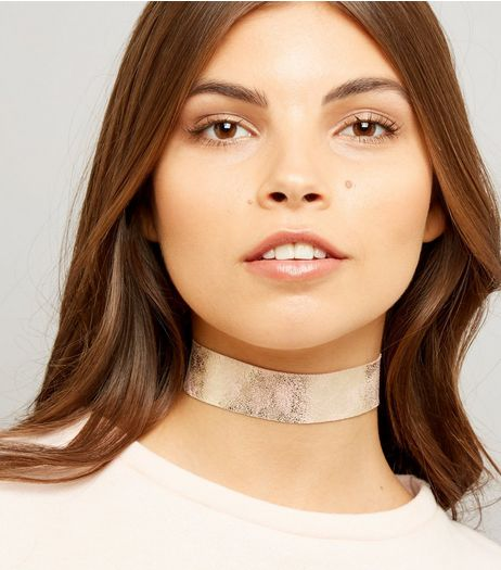 Rose Gold Iridescent Choker | New Look