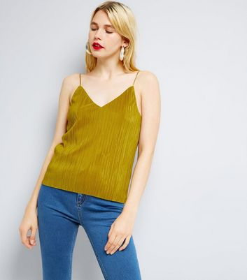 Green Pleated Cami Top