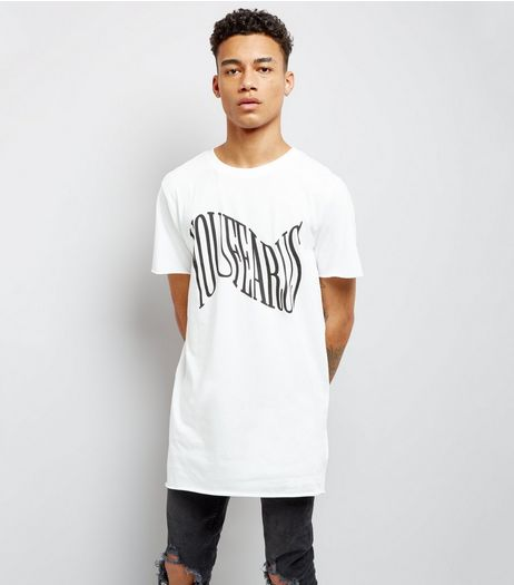 White Your Fear Us Print Longline T-Shirt | New Look