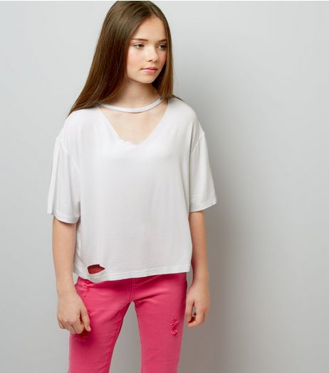 Teens White Choker Neck T-Shirt | New Look