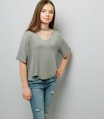 Teens Khaki Choker Neck T-Shirt