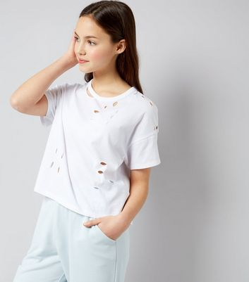 Teens White Ripped T-Shirt