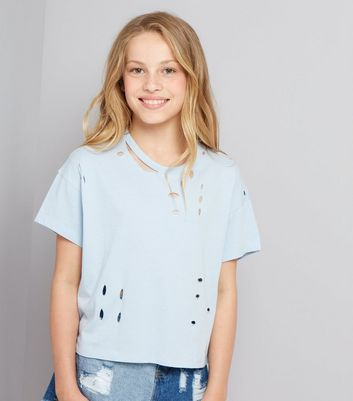 Teens Pale Blue Ripped T-Shirt