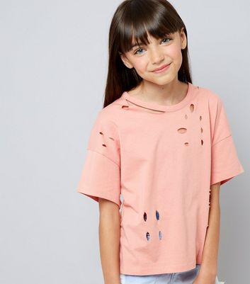 Teens Coral Ripped T-Shirt